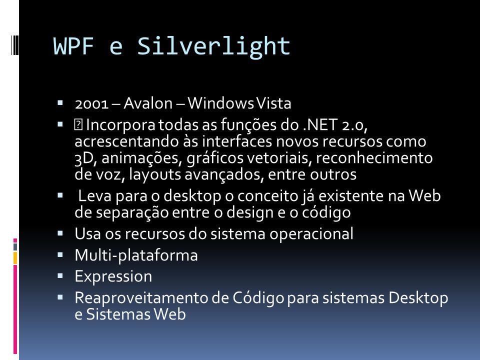 WPF e Silverlight 2001 – Avalon – Windows Vista • Incorpora todas as funções do.NET 2.0, acrescentando às interfaces novos recursos como 3D, animações, gráficos vetoriais, reconhecimento de voz, layouts avançados, entre outros Leva para o desktop o conceito já existente na Web de separação entre o design e o código Usa os recursos do sistema operacional Multi-plataforma Expression Reaproveitamento de Código para sistemas Desktop e Sistemas Web
