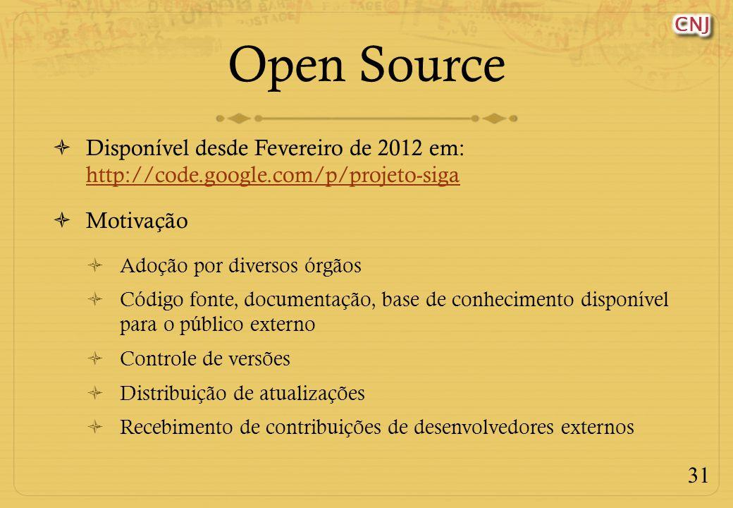 31 Open Source Disponível desde Fevereiro de 2012 em: http://code.google.com/p/projeto-siga http://code.google.com/p/projeto-siga Motivação Adoção por diversos órgãos Código fonte, documentação, base de conhecimento disponível para o público externo Controle de versões Distribuição de atualizações Recebimento de contribuições de desenvolvedores externos