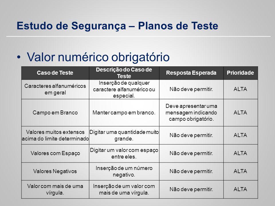 Estudo de Segurança – Planos de Teste Valor numérico obrigatório Caso de Teste Descrição do Caso de Teste Resposta EsperadaPrioridade Caracteres alfan