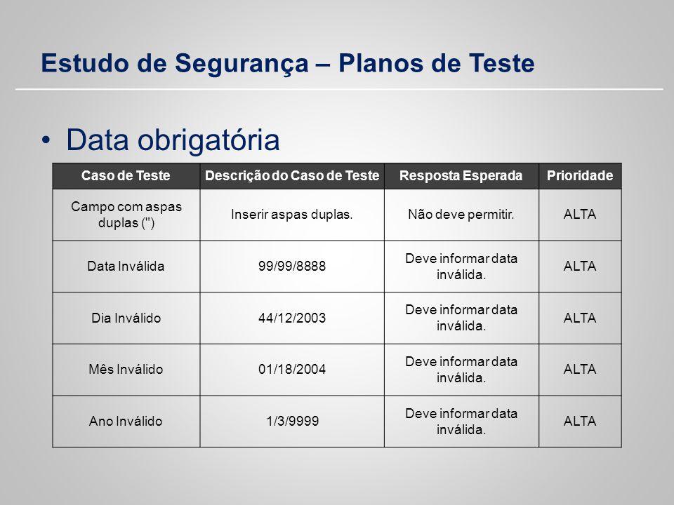 Estudo de Segurança – Planos de Teste Data obrigatória Caso de TesteDescrição do Caso de TesteResposta EsperadaPrioridade Campo com aspas duplas (