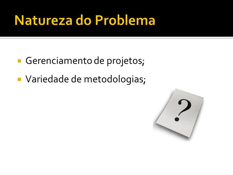 Gerenciamento de projetos; Variedade de metodologias;