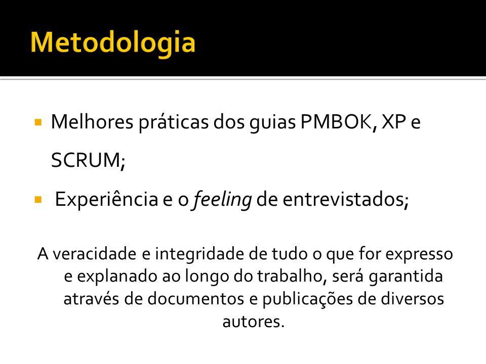 Melhores práticas dos guias PMBOK, XP e SCRUM; Experiência e o feeling de entrevistados; A veracidade e integridade de tudo o que for expresso e expla