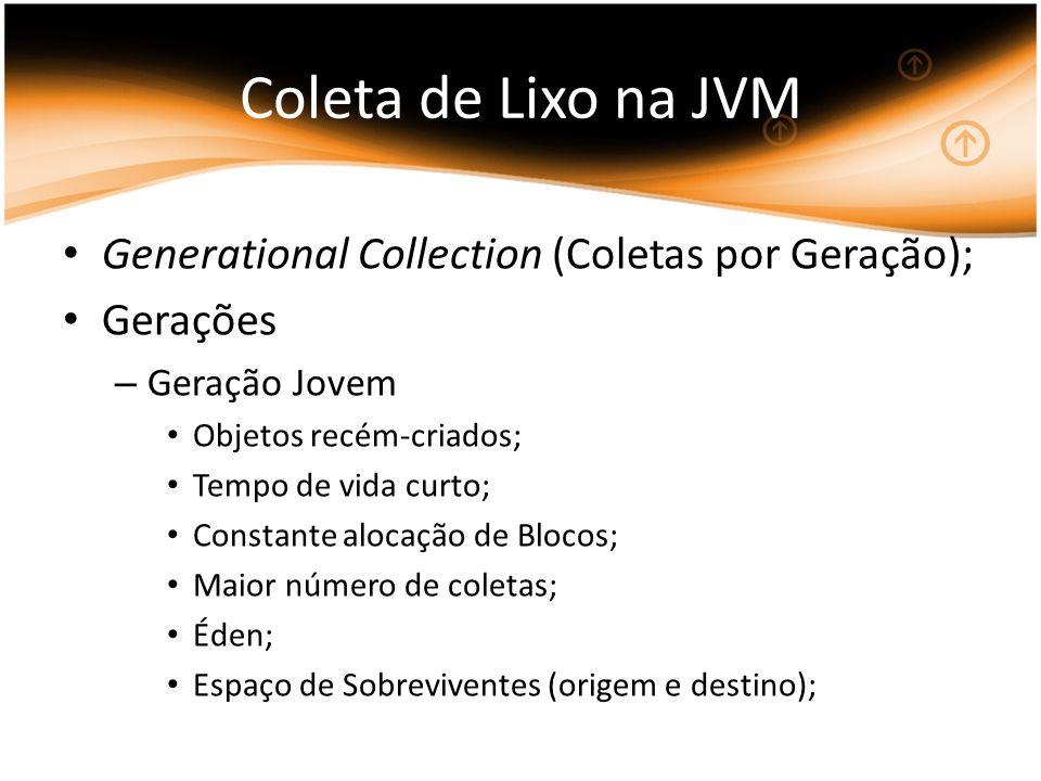 Coleta de Lixo na JVM Generational Collection (Coletas por Geração); Gerações – Geração Jovem Objetos recém-criados; Tempo de vida curto; Constante al