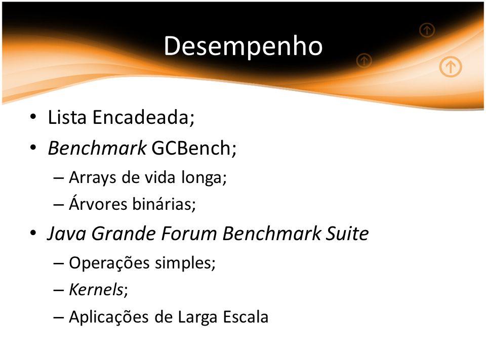 Desempenho Lista Encadeada; Benchmark GCBench; – Arrays de vida longa; – Árvores binárias; Java Grande Forum Benchmark Suite – Operações simples; – Kernels; – Aplicações de Larga Escala