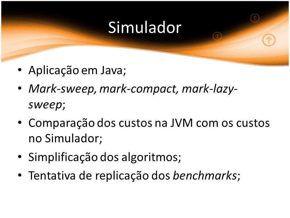 Aplicação em Java; Mark-sweep, mark-compact, mark-lazy- sweep; Comparação dos custos na JVM com os custos no Simulador; Simplificação dos algoritmos; Tentativa de replicação dos benchmarks;