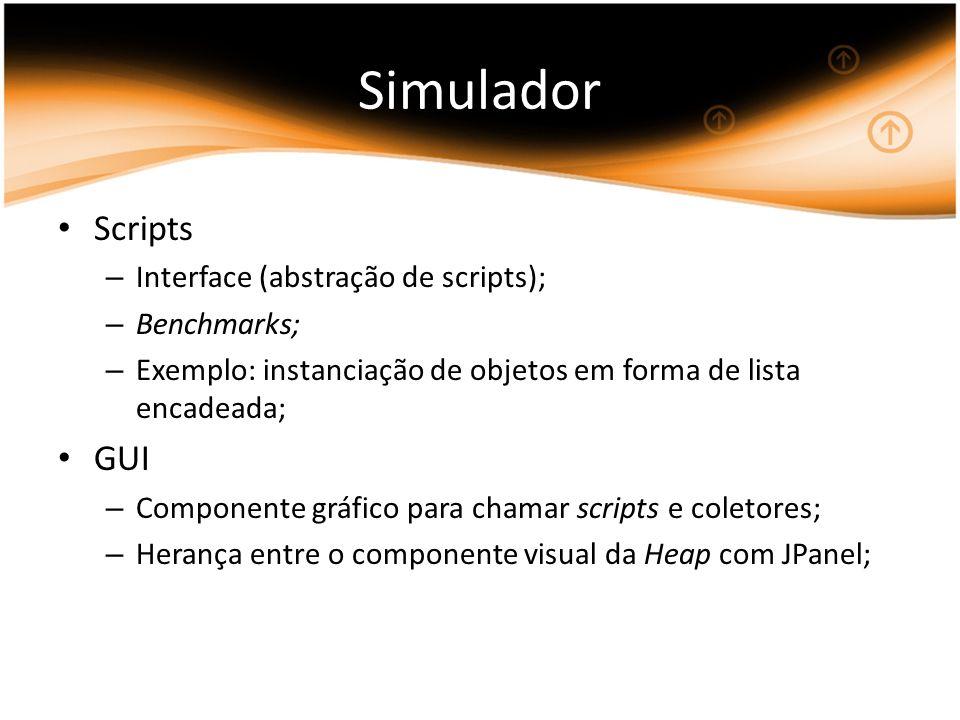 Simulador Scripts – Interface (abstração de scripts); – Benchmarks; – Exemplo: instanciação de objetos em forma de lista encadeada; GUI – Componente gráfico para chamar scripts e coletores; – Herança entre o componente visual da Heap com JPanel;