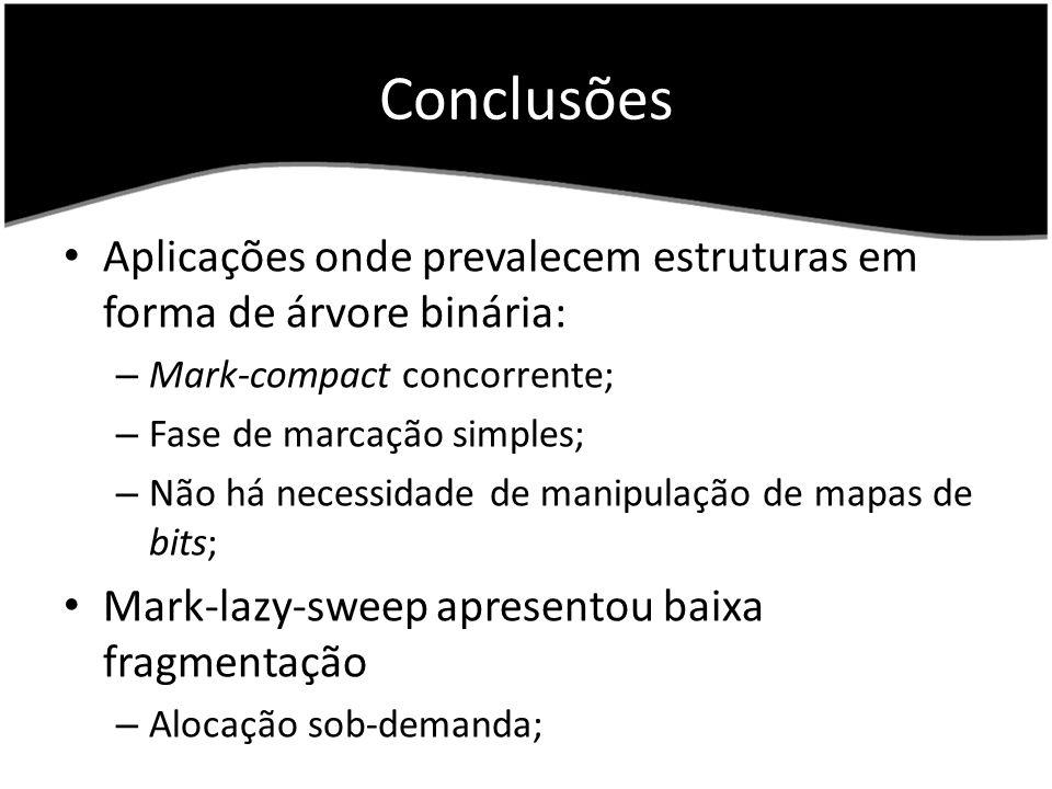 Conclusões Aplicações onde prevalecem estruturas em forma de árvore binária: – Mark-compact concorrente; – Fase de marcação simples; – Não há necessidade de manipulação de mapas de bits; Mark-lazy-sweep apresentou baixa fragmentação – Alocação sob-demanda;