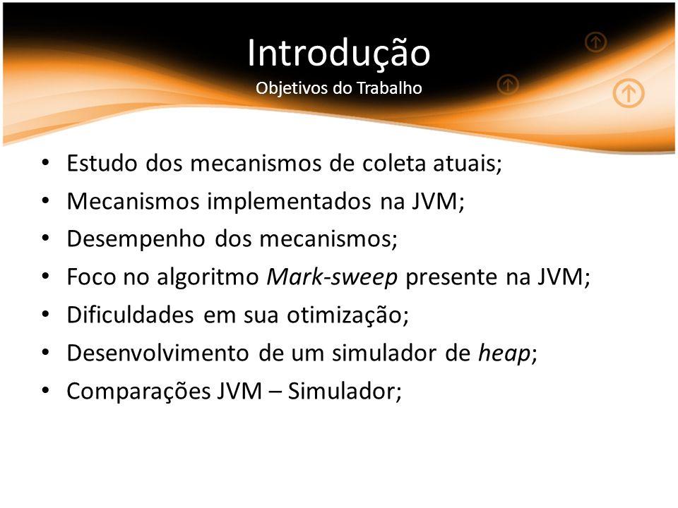 Introdução Objetivos do Trabalho Estudo dos mecanismos de coleta atuais; Mecanismos implementados na JVM; Desempenho dos mecanismos; Foco no algoritmo Mark-sweep presente na JVM; Dificuldades em sua otimização; Desenvolvimento de um simulador de heap; Comparações JVM – Simulador;