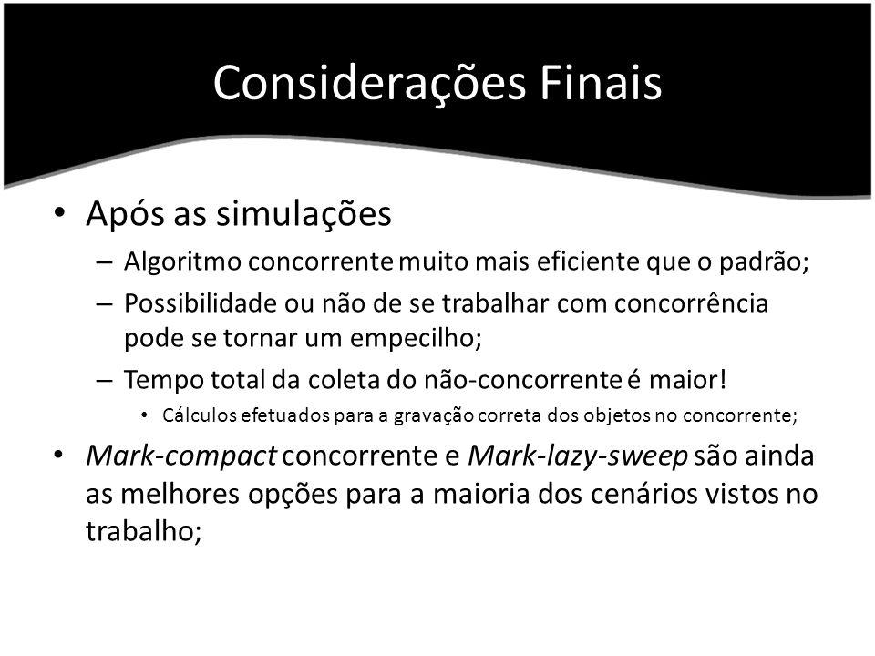Considerações Finais Após as simulações – Algoritmo concorrente muito mais eficiente que o padrão; – Possibilidade ou não de se trabalhar com concorrê