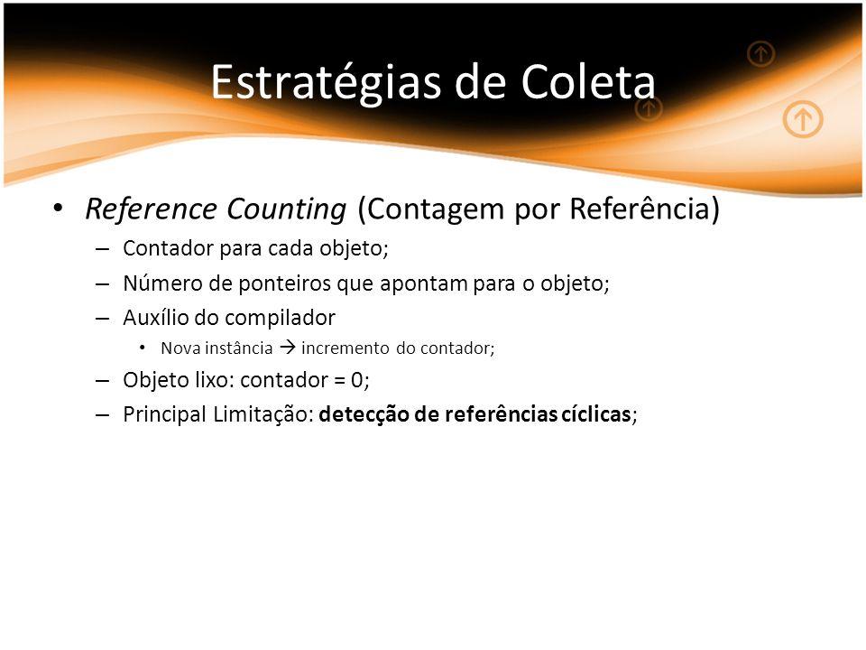 Estratégias de Coleta Reference Counting (Contagem por Referência) – Contador para cada objeto; – Número de ponteiros que apontam para o objeto; – Auxílio do compilador Nova instância incremento do contador; – Objeto lixo: contador = 0; – Principal Limitação: detecção de referências cíclicas;
