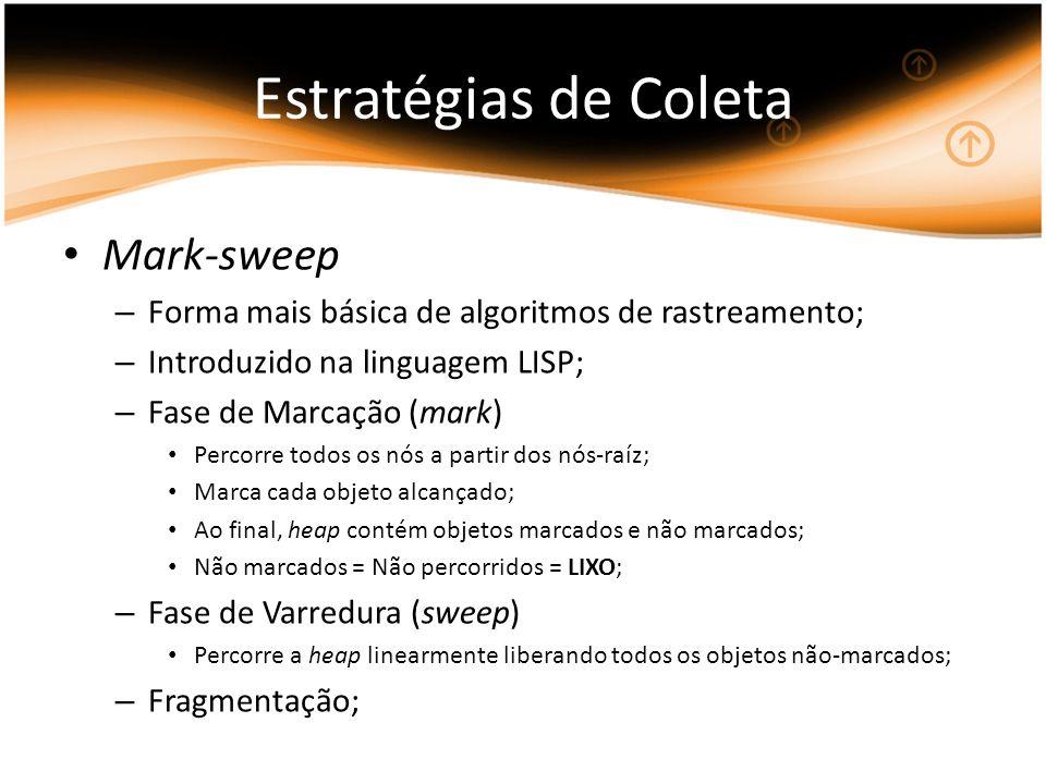 Estratégias de Coleta Mark-sweep – Forma mais básica de algoritmos de rastreamento; – Introduzido na linguagem LISP; – Fase de Marcação (mark) Percorr