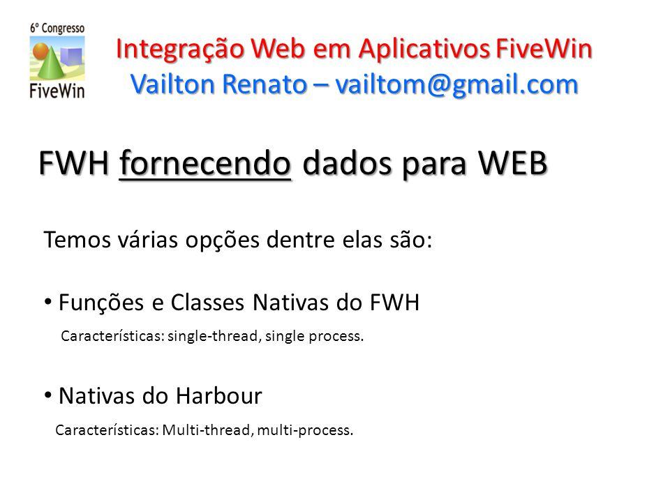 Integração Web em Aplicativos FiveWin Vailton Renato – vailtom@gmail.com FWH fornecendo dados para WEB Temos várias opções dentre elas são: Funções e