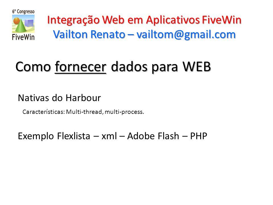 Integração Web em Aplicativos FiveWin Vailton Renato – vailtom@gmail.com Como fornecer dados para WEB Nativas do Harbour Características: Multi-thread