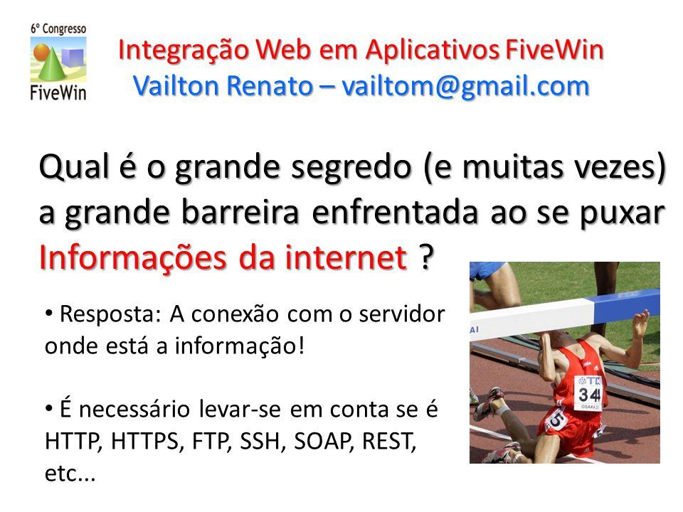 Integração Web em Aplicativos FiveWin Vailton Renato – vailtom@gmail.com Fornecendo dados à web com CGI Existem várias LIBs que ajudam-nos à criar aplicativos CGI.