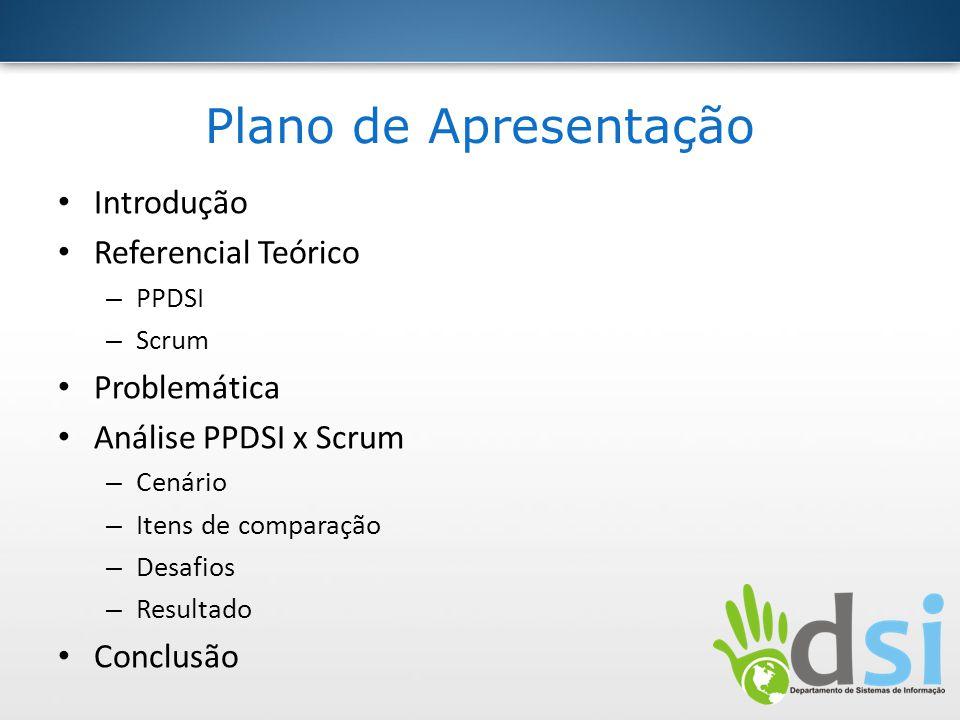 Plano de Apresentação Introdução Referencial Teórico – PPDSI – Scrum Problemática Análise PPDSI x Scrum – Cenário – Itens de comparação – Desafios – R