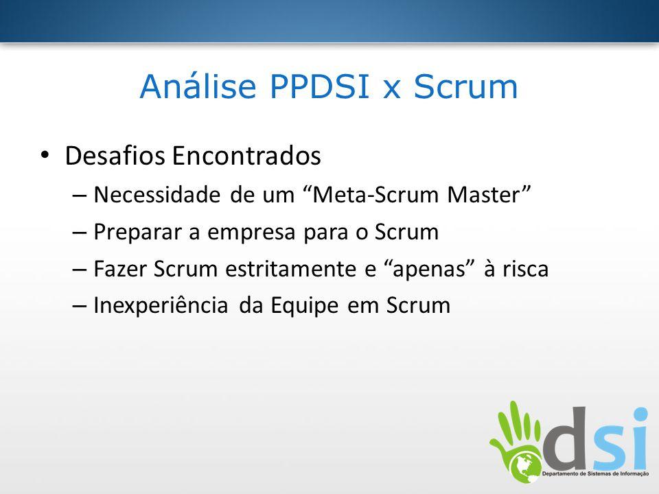 Análise PPDSI x Scrum Desafios Encontrados – Necessidade de um Meta-Scrum Master – Preparar a empresa para o Scrum – Fazer Scrum estritamente e apenas