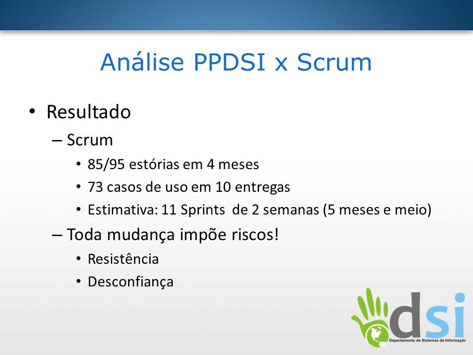 Análise PPDSI x Scrum Resultado – Scrum 85/95 estórias em 4 meses 73 casos de uso em 10 entregas Estimativa: 11 Sprints de 2 semanas (5 meses e meio)