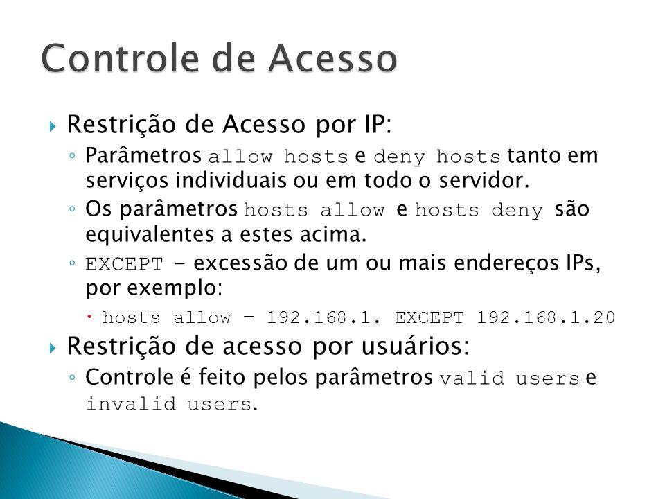 Restrição de Acesso por IP: Parâmetros allow hosts e deny hosts tanto em serviços individuais ou em todo o servidor. Os parâmetros hosts allow e hosts
