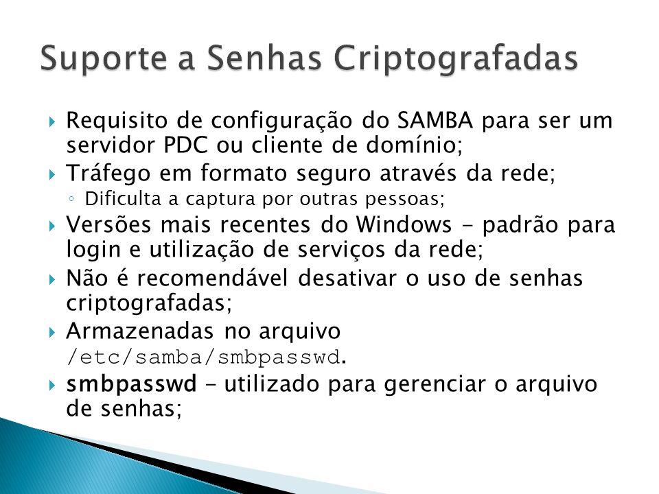Requisito de configuração do SAMBA para ser um servidor PDC ou cliente de domínio; Tráfego em formato seguro através da rede; Dificulta a captura por