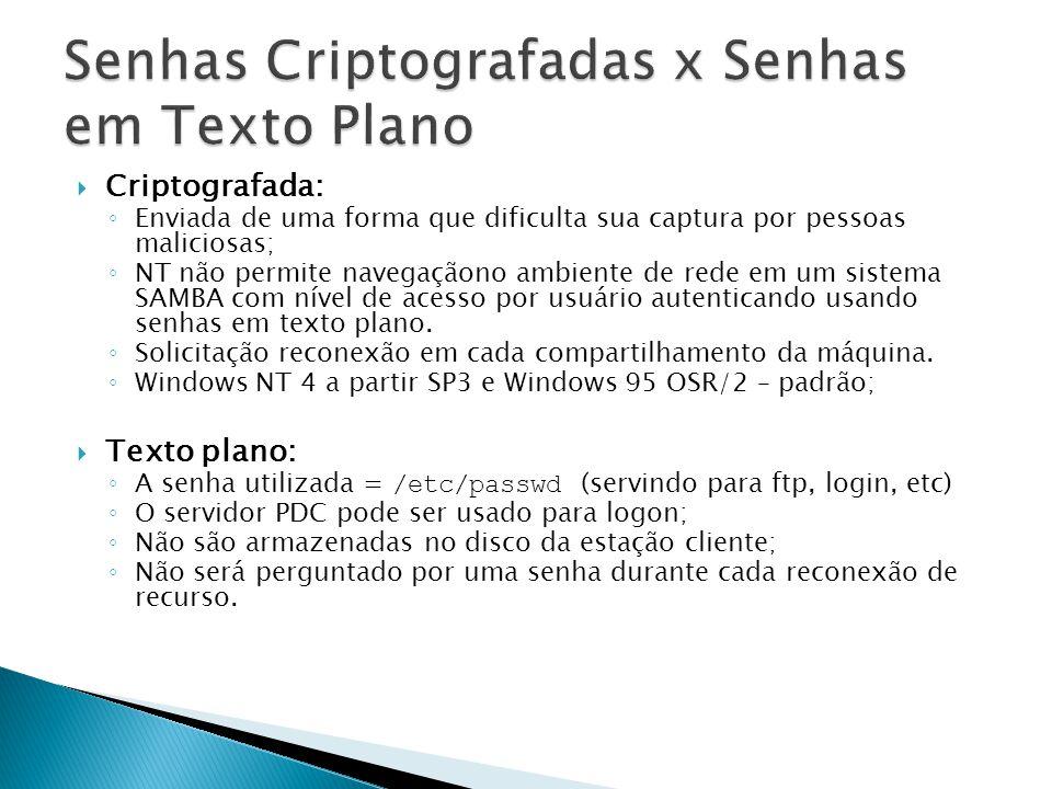Criptografada: Enviada de uma forma que dificulta sua captura por pessoas maliciosas; NT não permite navegaçãono ambiente de rede em um sistema SAMBA