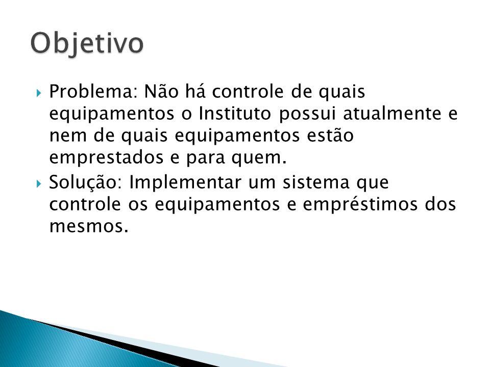 Problema: Não há controle de quais equipamentos o Instituto possui atualmente e nem de quais equipamentos estão emprestados e para quem. Solução: Impl
