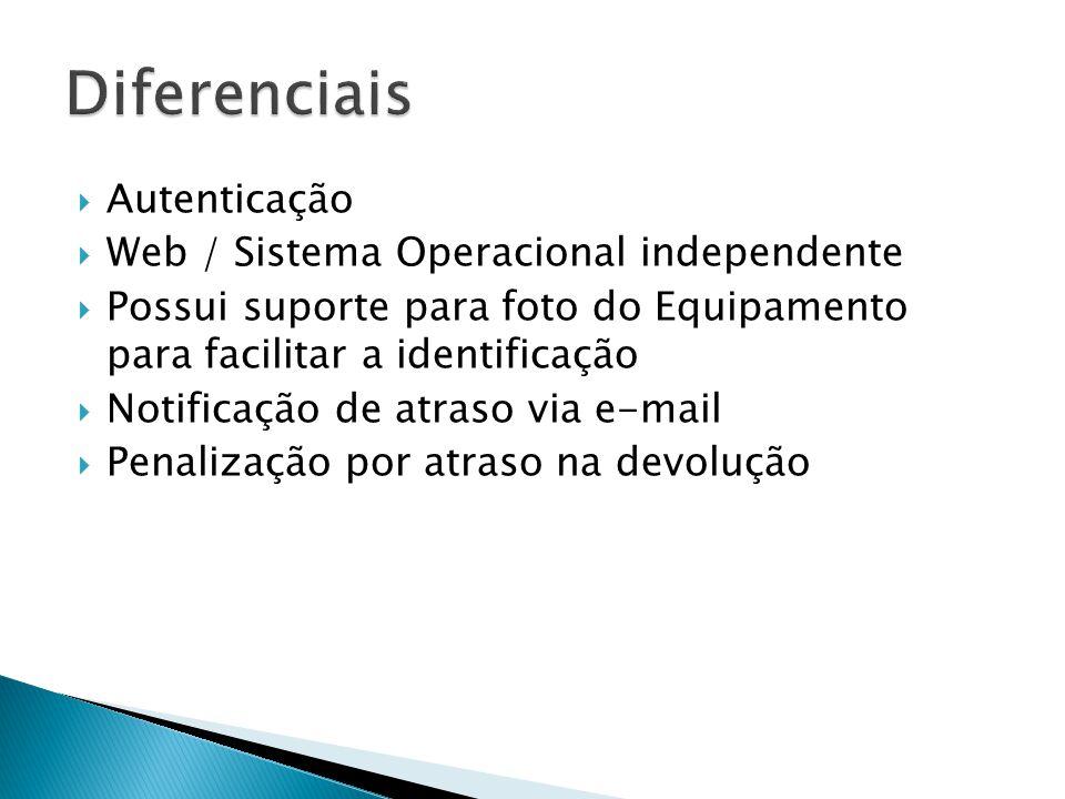 Autenticação Web / Sistema Operacional independente Possui suporte para foto do Equipamento para facilitar a identificação Notificação de atraso via e