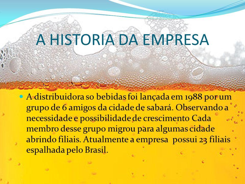 A HISTORIA DA EMPRESA A distribuidora so bebidas foi lançada em 1988 por um grupo de 6 amigos da cidade de sabará. Observando a necessidade e possibil