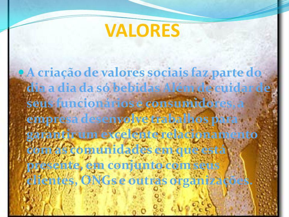 VALORES A criação de valores sociais faz parte do dia a dia da só bebidas Além de cuidar de seus funcionários e consumidores, a empresa desenvolve tra
