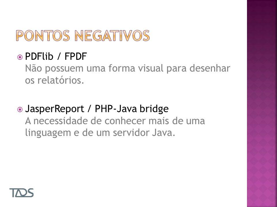 PDFlib / FPDF Não possuem uma forma visual para desenhar os relatórios.