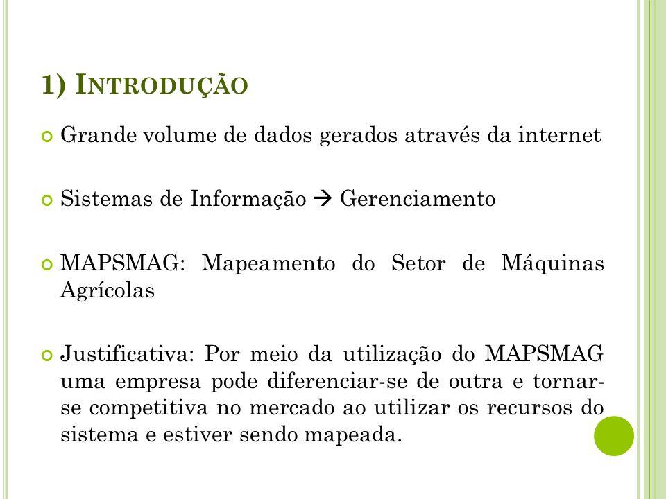 1) I NTRODUÇÃO Grande volume de dados gerados através da internet Sistemas de Informação Gerenciamento MAPSMAG: Mapeamento do Setor de Máquinas Agríco