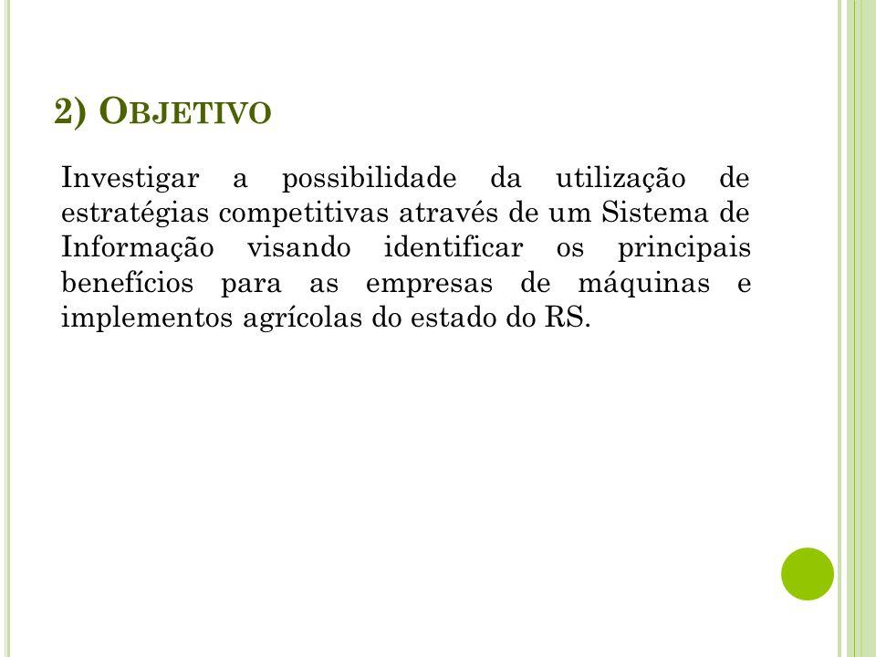 A utilização de um Sistema de Informação como estratégia competitiva nas empresas de Máquinas e Implementos Agrícolas no Estado do Rio Grande do Sul Acadêmico: Fernando Sartori Orientador: Renato Neves Allemand I NSTITUTO F EDERAL S UL -R IO -G RANDENSE C URSO DE TECNOLOGIA EM SISTEMAS PARA INTERNET