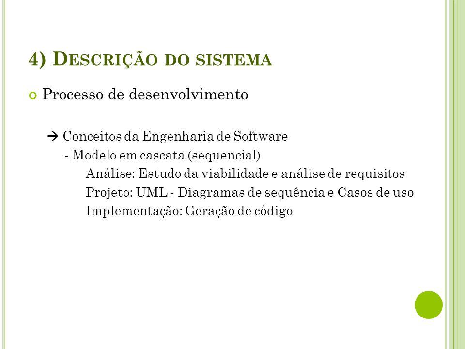 4) D ESCRIÇÃO DO SISTEMA Processo de desenvolvimento Conceitos da Engenharia de Software - Modelo em cascata (sequencial) Análise: Estudo da viabilida