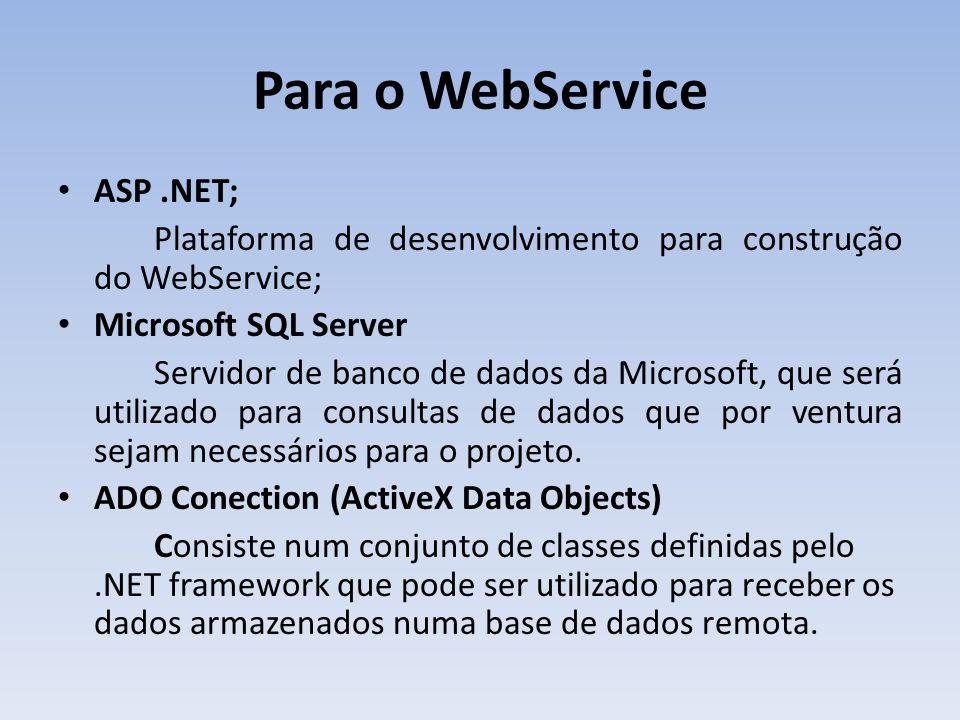 Para o Windows Microsoft Dot-Net Framework 3.5; Plataforma de desenvolvimento utilizada, que possibilita a execução das aplicações desenvolvidas para Dot-Net;