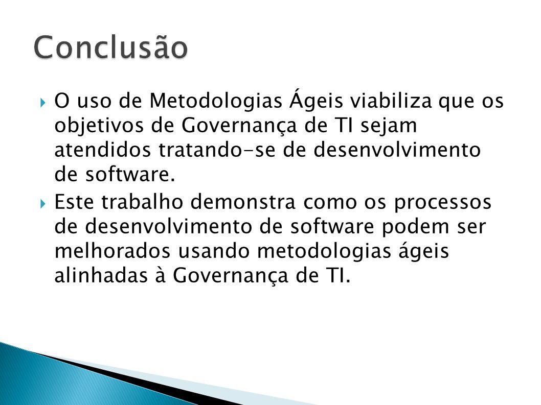 O uso de Metodologias Ágeis viabiliza que os objetivos de Governança de TI sejam atendidos tratando-se de desenvolvimento de software. Este trabalho d