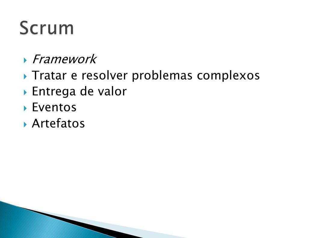 Framework Tratar e resolver problemas complexos Entrega de valor Eventos Artefatos