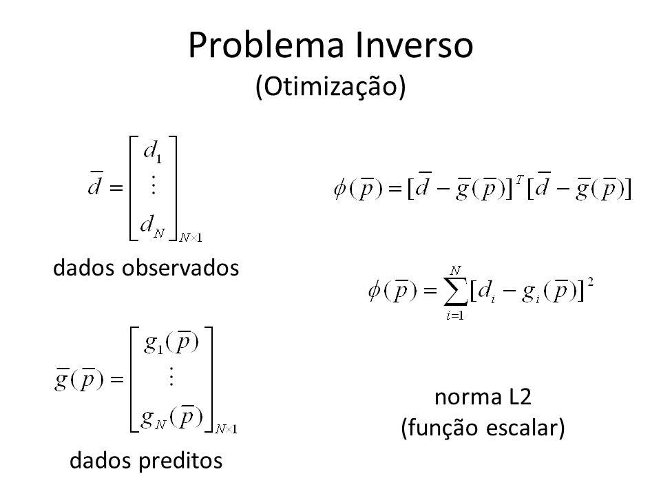 Problema Inverso (Otimização) O Problema Inverso consiste em determinar um vetor de parâmetros p, M -dimensional, que minimiza a função oooo norma L2 (função escalar)