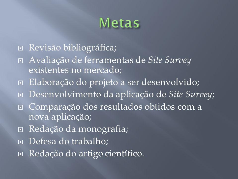 Revisão bibliográfica; Avaliação de ferramentas de Site Survey existentes no mercado; Elaboração do projeto a ser desenvolvido; Desenvolvimento da apl