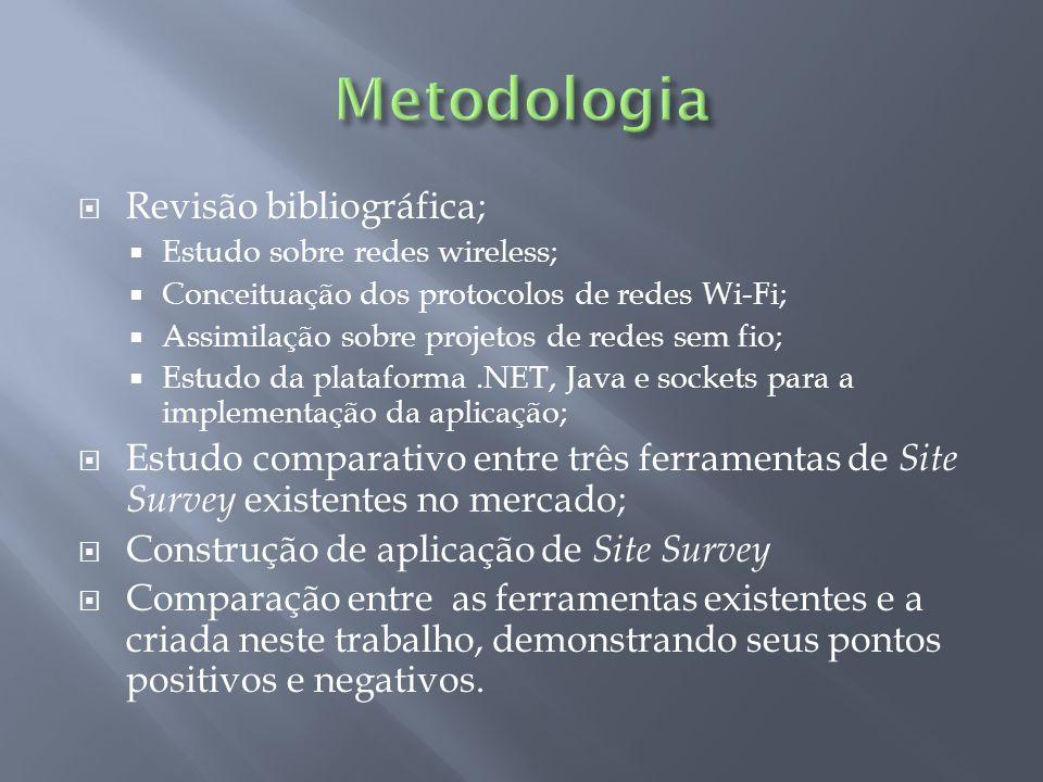 Revisão bibliográfica; Estudo sobre redes wireless; Conceituação dos protocolos de redes Wi-Fi; Assimilação sobre projetos de redes sem fio; Estudo da