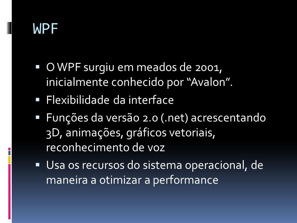 WPF O WPF surgiu em meados de 2001, inicialmente conhecido por Avalon. Flexibilidade da interface Funções da versão 2.0 (.net) acrescentando 3D, anima