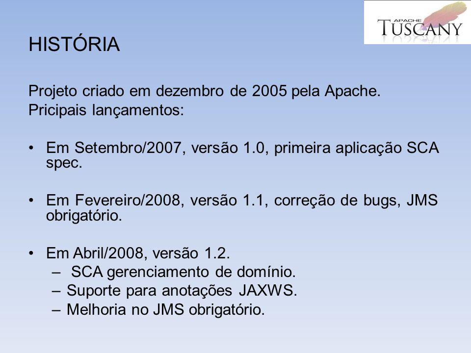HISTÓRIA Projeto criado em dezembro de 2005 pela Apache. Pricipais lançamentos: Em Setembro/2007, versão 1.0, primeira aplicação SCA spec. Em Fevereir