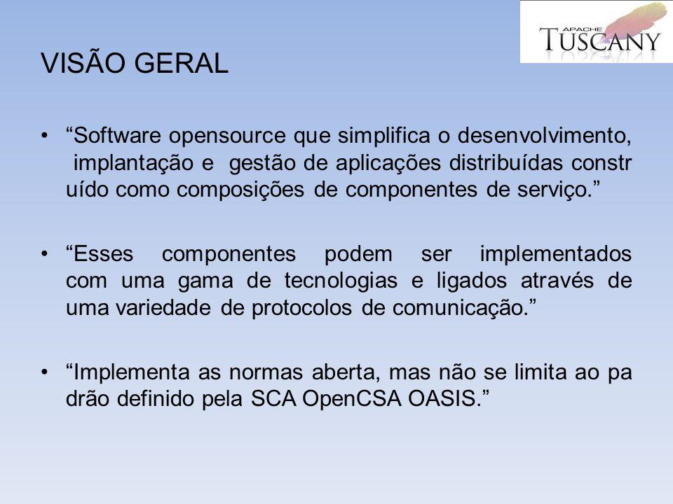 VISÃO GERAL Software opensource que simplifica o desenvolvimento, implantação e gestão de aplicações distribuídas constr uído como composições de comp