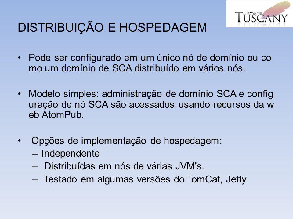 DISTRIBUIÇÃO E HOSPEDAGEM Pode ser configurado em um único nó de domínio ou co mo um domínio de SCA distribuído em vários nós. Modelo simples: adminis