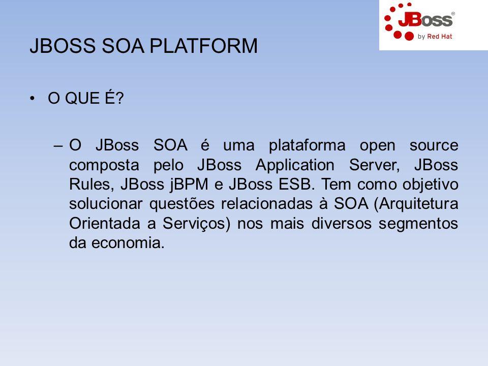 JBOSS SOA PLATFORM O QUE É? –O JBoss SOA é uma plataforma open source composta pelo JBoss Application Server, JBoss Rules, JBoss jBPM e JBoss ESB. Tem