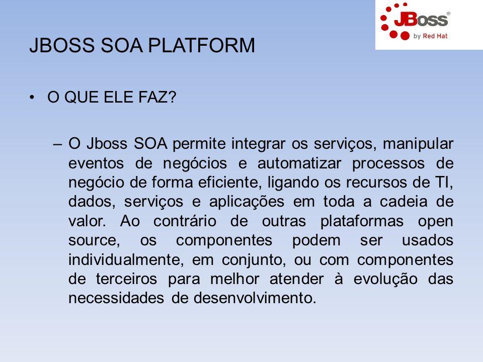 JBOSS SOA PLATFORM O QUE ELE FAZ? –O Jboss SOA permite integrar os serviços, manipular eventos de negócios e automatizar processos de negócio de forma
