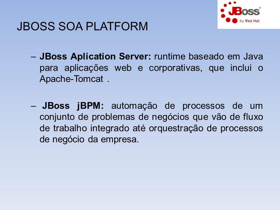 JBOSS SOA PLATFORM –JBoss Aplication Server: runtime baseado em Java para aplicações web e corporativas, que inclui o Apache-Tomcat. – JBoss jBPM: aut