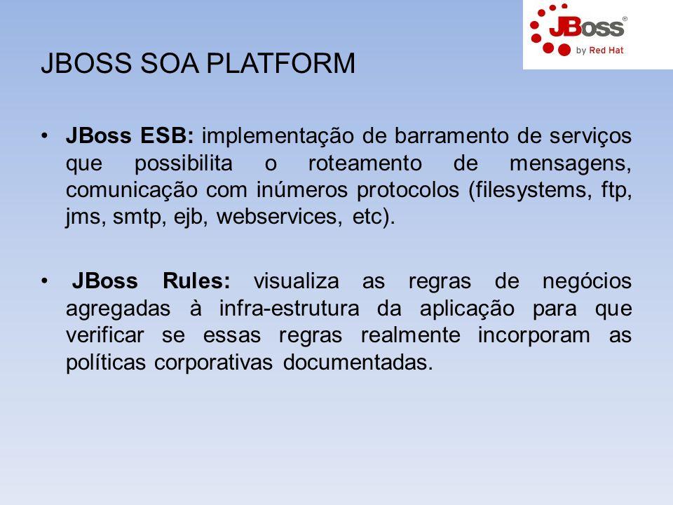 JBOSS SOA PLATFORM JBoss ESB: implementação de barramento de serviços que possibilita o roteamento de mensagens, comunicação com inúmeros protocolos (