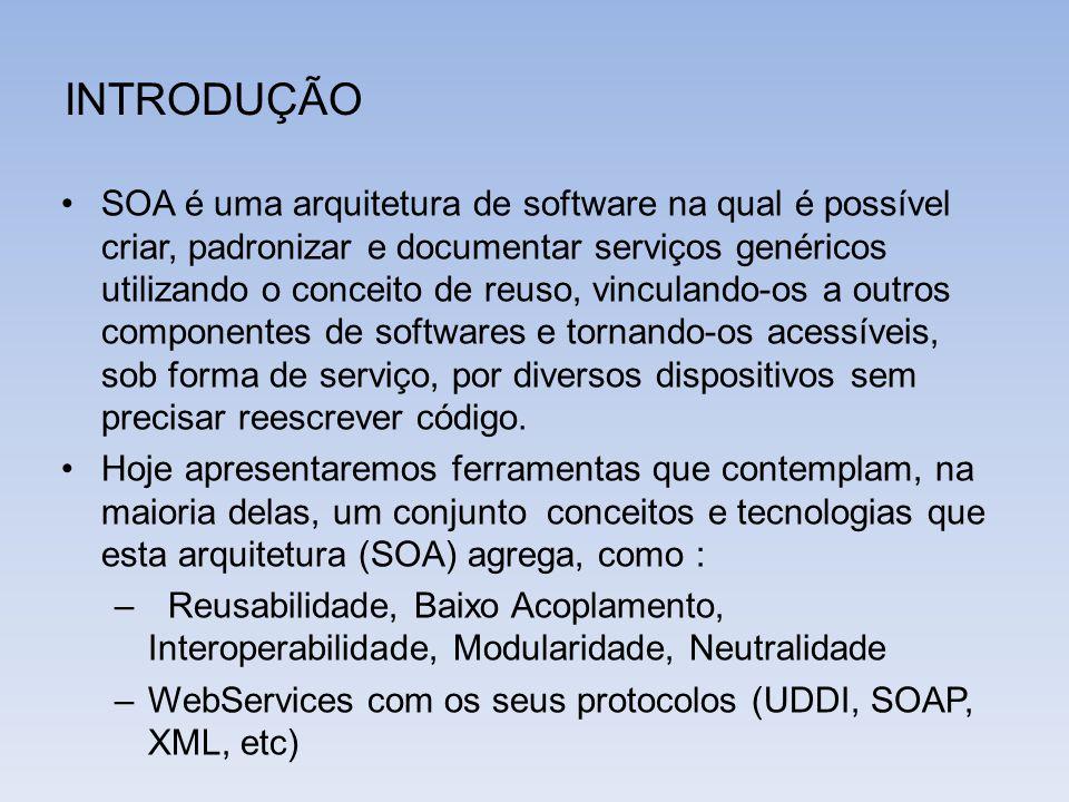 INTRODUÇÃO SOA é uma arquitetura de software na qual é possível criar, padronizar e documentar serviços genéricos utilizando o conceito de reuso, vinc