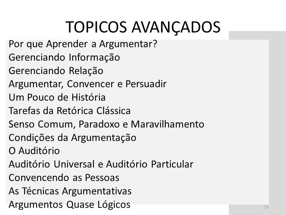 TOPICOS AVANÇADOS 11 Por que Aprender a Argumentar? Gerenciando Informação Gerenciando Relação Argumentar, Convencer e Persuadir Um Pouco de História