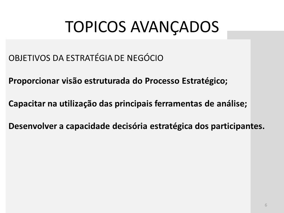 6 OBJETIVOS DA ESTRATÉGIA DE NEGÓCIO Proporcionar visão estruturada do Processo Estratégico; Capacitar na utilização das principais ferramentas de aná