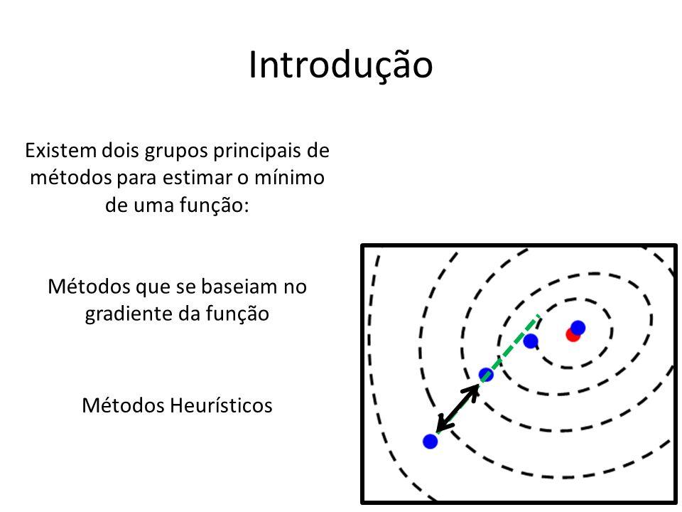 Introdução Existem dois grupos principais de métodos para estimar o mínimo de uma função: Métodos que se baseiam no gradiente da função Métodos Heurísticos